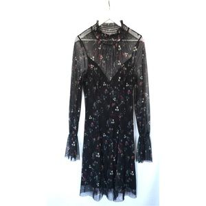BLACK FLORAL SMOCKED MOCK NECK SHEER SLEEVE DRESS